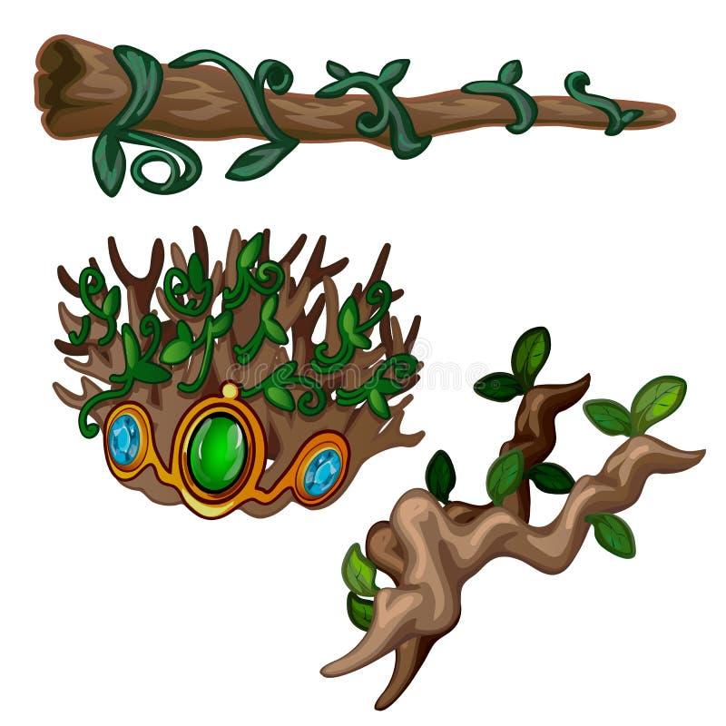 Ramos velhos da inoperante-madeira decorados com pedras preciosas e as plantas de escalada, isoladas em um fundo branco As raizes ilustração royalty free