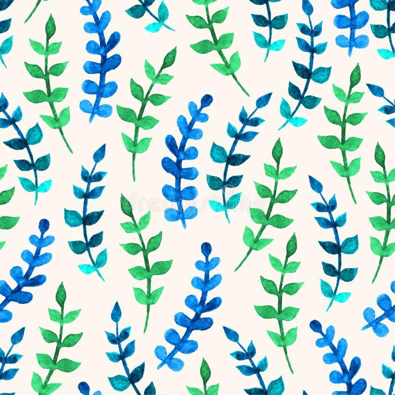 Ramos verdes e azuis da aquarela ilustração do vetor