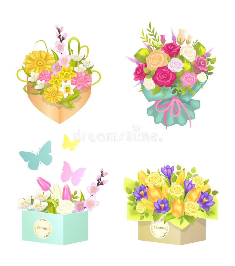 Ramos y flores fijados, ejemplo del vector ilustración del vector