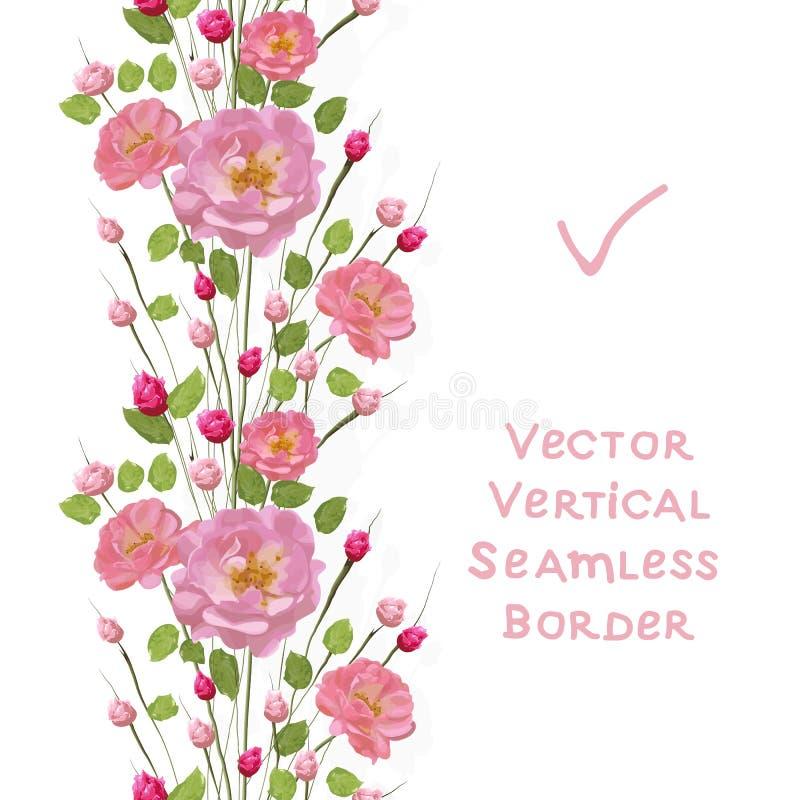 Ramoscelli delle rose rosa con le foglie Priorit? bassa bianca illustrazione vettoriale