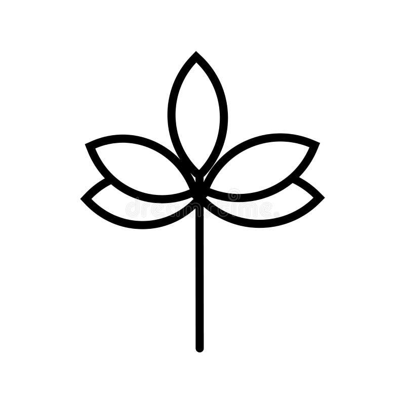Ramoscello con il segno ed il simbolo di vettore dell'icona di cinque foglie isolato su fondo bianco, ramoscello con il concetto  royalty illustrazione gratis