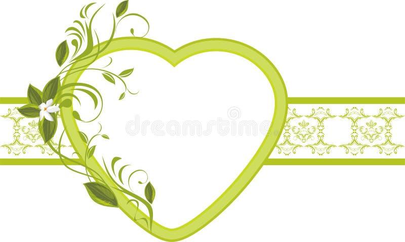 Ramoscello di fioritura con cuore sul confine ornamentale royalty illustrazione gratis