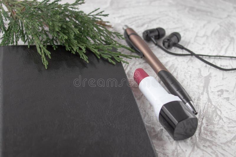 Ramoscello verde su un taccuino nero accanto ad una penna, ad un rossetto ed alle cuffie su un fondo bianco immagine stock