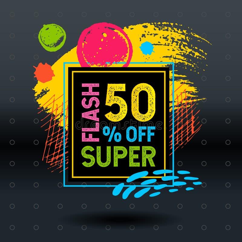 Ramowa błyskowa super sprzedaż, weekendowy oferta specjalna sztandaru szablon H ilustracji