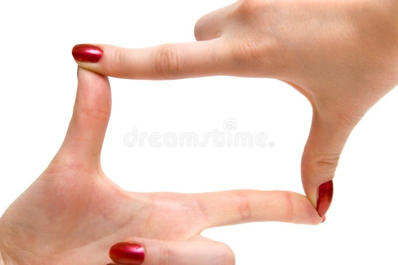 ramowa ręka znaku kobieta zdjęcia royalty free