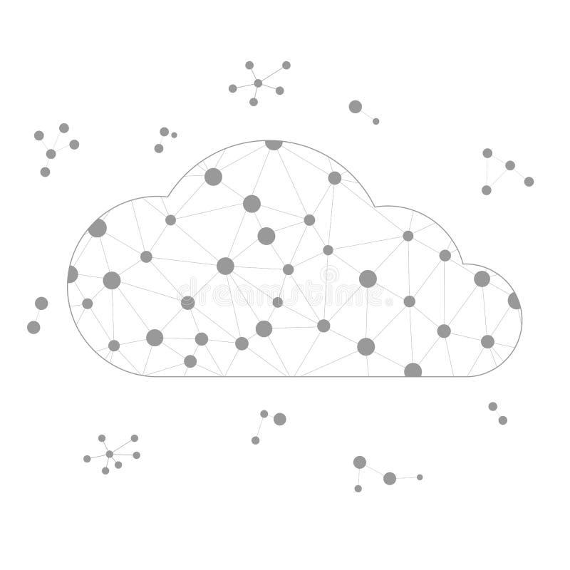 Ramowa wektorowa wielobok chmura z szarość wykłada i okręgi ilustracji