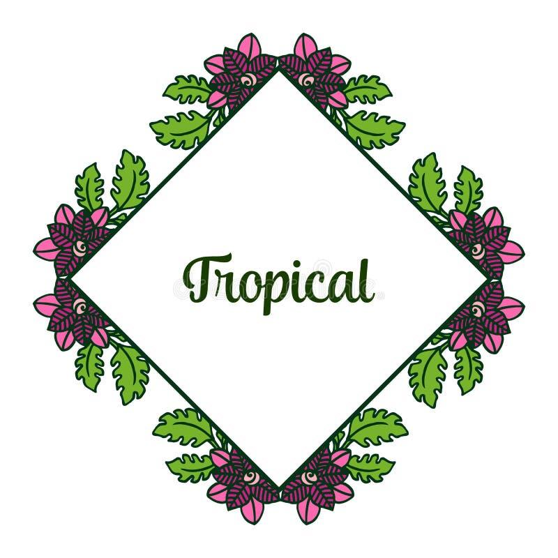 Ramowe kwieciste purpury i ulistnienie zielony naturalny dekoracyjni karciany tropikalny, wektor royalty ilustracja