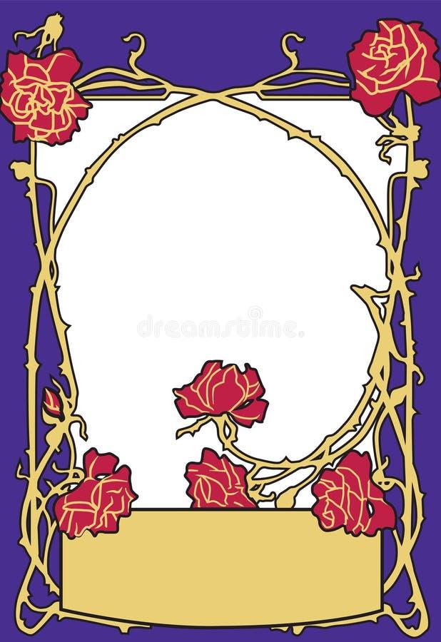Ramowego starego moda stylu błękitny kolor z czerwonymi różami Retro projektujący wektorowy tło royalty ilustracja