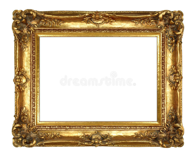 ramowego złota odosobniony obrazka biel zdjęcie royalty free