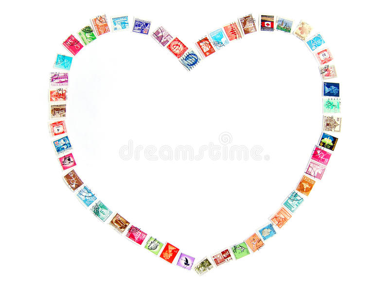 ramowej miłości pocztowi znaczki obraz stock