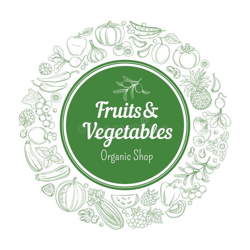 Ramowej rabatowej tło wzoru zieleni świezi tropikalni owoc i warzywo ilustracja wektor