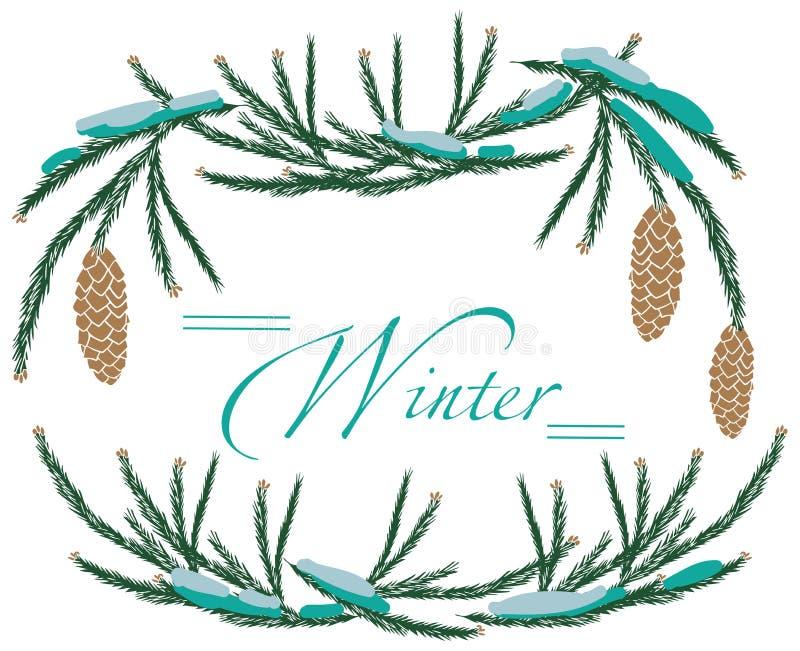 Ramowi zimy drzewa rożki ilustracja wektor