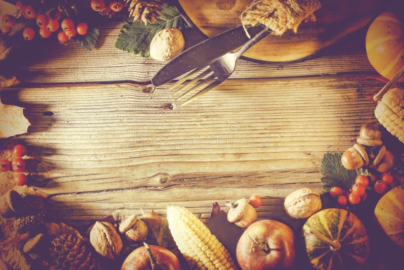 Ramowy dziękczynienie, dziękczynienia tło, jesień, rama, kopii przestrzeń, odgórny widok obraz stock