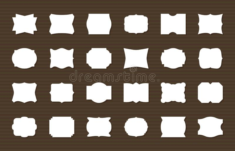 Ramowy etykietka set Puste miejsce obramia dekoracyjnych kształty, retro etykietki Elegancka majcher dekoracja, papier etykietki  ilustracji