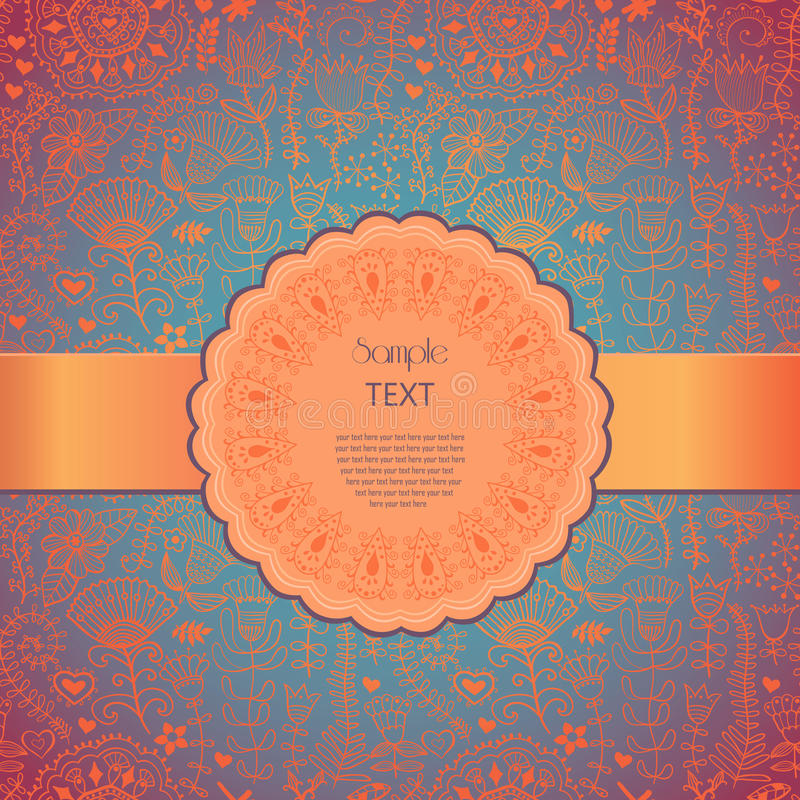 ramowy koronkowy ornamentacyjny round Tło dla świętowań, holida royalty ilustracja