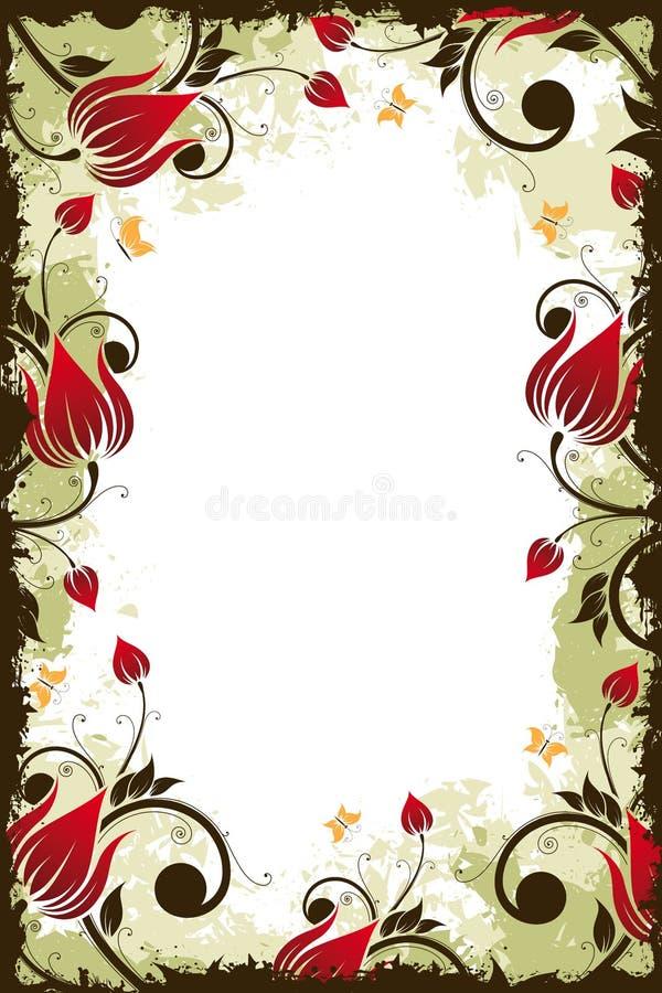 ramowy kwiatu grunge ilustracja wektor