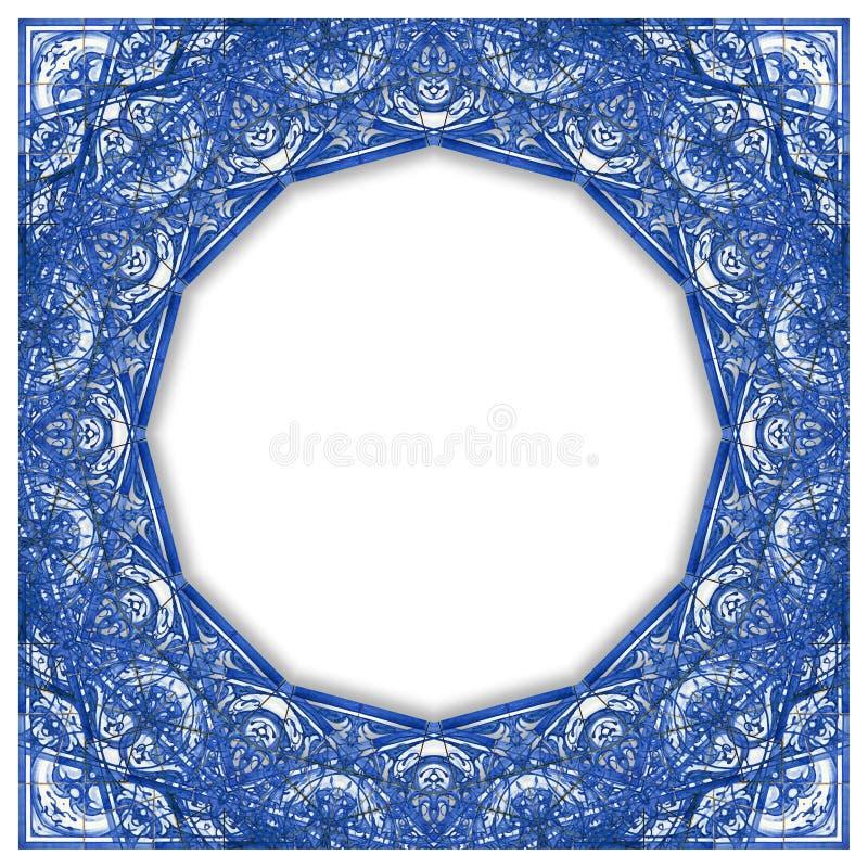 Ramowy projekt inspirujący typowe Portugalskie dekoracje z barwionymi ceramicznymi płytkami dzwonił azulejos - pojęcie wizerunek  royalty ilustracja