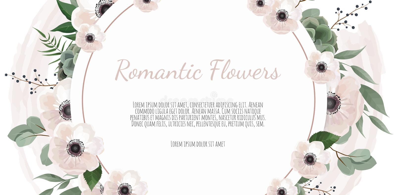 Ramowy rabatowy tło Kwiecista ślubna karta z wzrastał, anemonu i eukaliptusa gałąź, royalty ilustracja