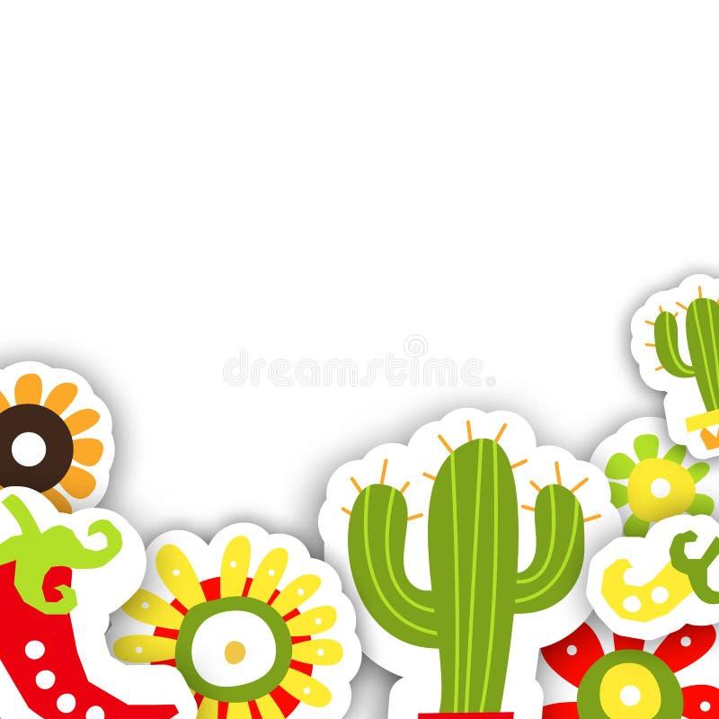 Ramowy szablon dla Meksykańskiego tradycyjnego wakacyjnego Cinco de Mayo royalty ilustracja