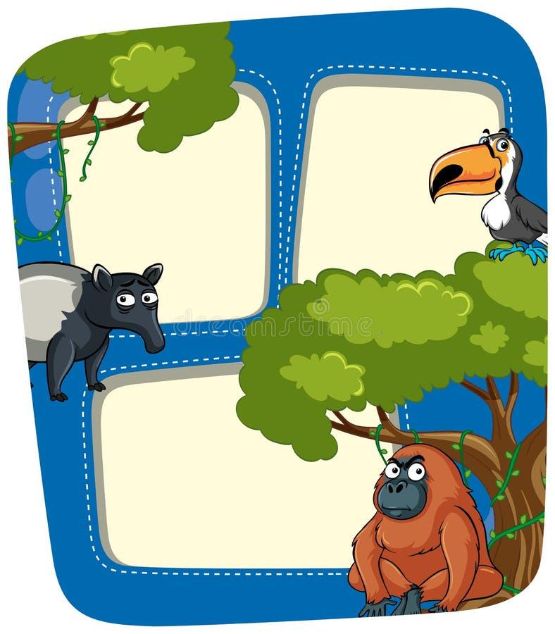 Ramowy szablon z dzikimi zwierzętami w dżungli ilustracji