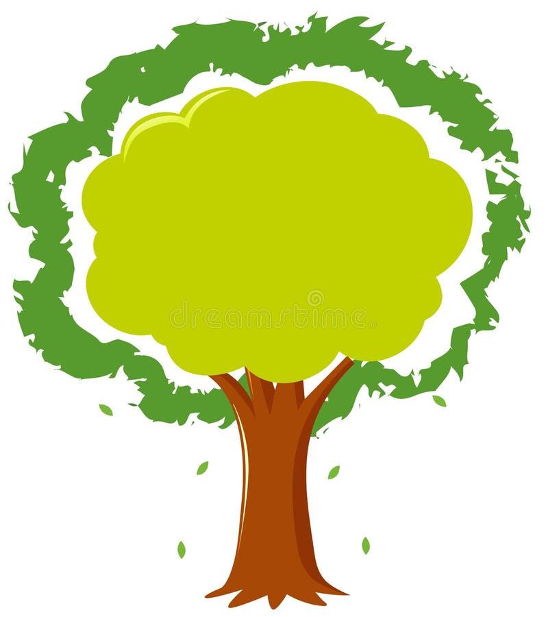 Ramowy szablon z zielonym drzewem ilustracja wektor