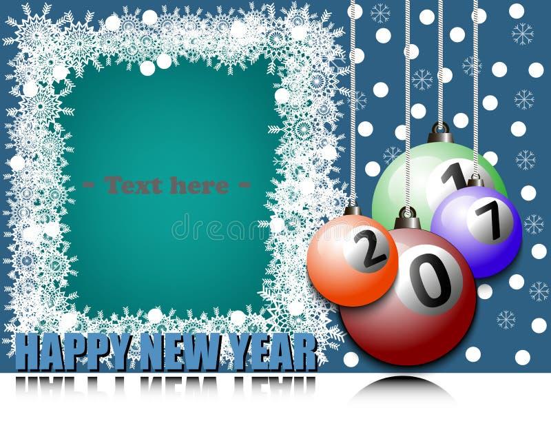 Ramowy Szczęśliwy nowy rok i bilardowa piłka ilustracja wektor
