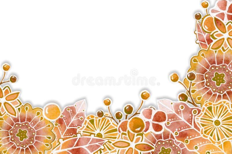 Ramowy tło z abstrakcjonistycznymi graficznymi kolorami Akwarela rysunek z konturowym uderzeniem na bia?ym tle dla projekta, ilustracja wektor