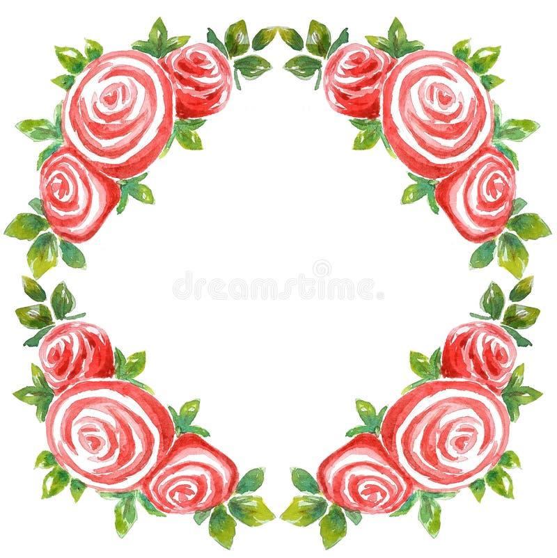 Ramowy wianek akwareli bukiet trzy róży na białym rhombus tle ilustracji