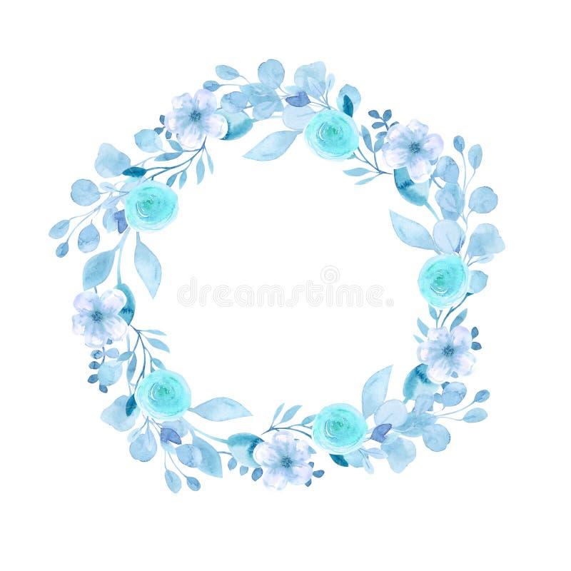 Ramowy wianek z kwiatami wi?nia, jab?ko, migda?, Sakura rysunkowa r?ki deszczu t?czy s?o?ca akwarela E royalty ilustracja