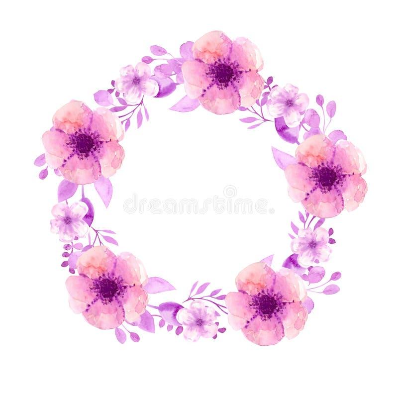 Ramowy wianek z kwiatami wi?nia, jab?ko, migda?, Sakura rysunkowa r?ki deszczu t?czy s?o?ca akwarela R??owi akwarela kwiaty i ga? ilustracja wektor
