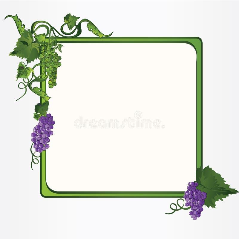 ramowy winogron liść winograd ilustracji