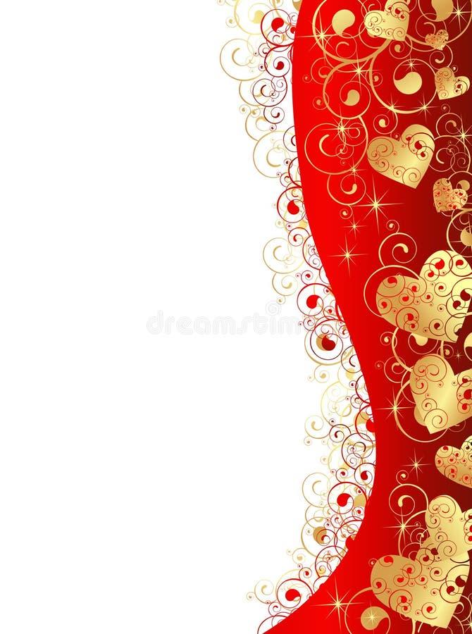 ramowy złocisty kierowy czerwony falisty ilustracji