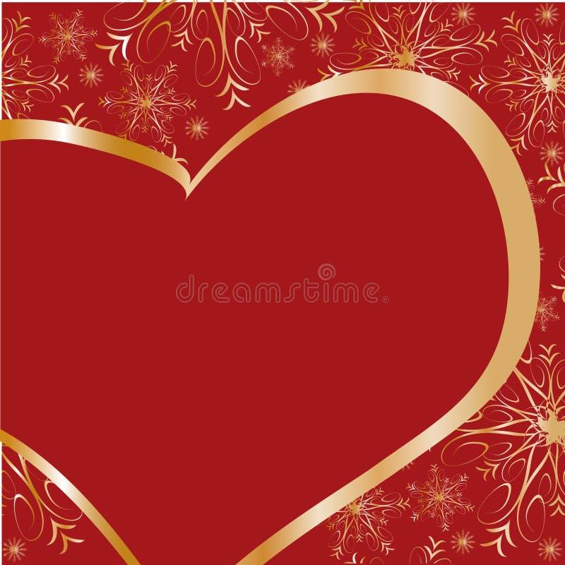 ramowy złocisty serce ilustracja wektor