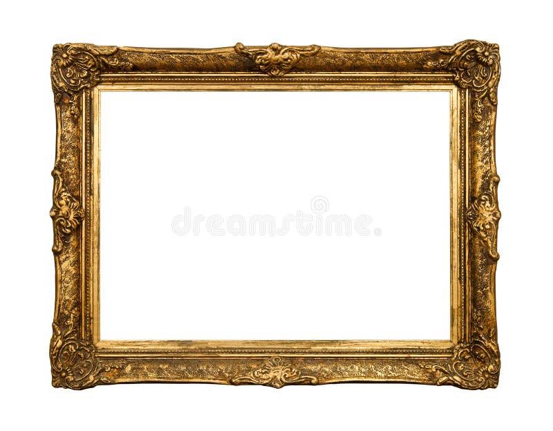 ramowy złoty odosobniony lustrzany stary retro biel zdjęcie stock