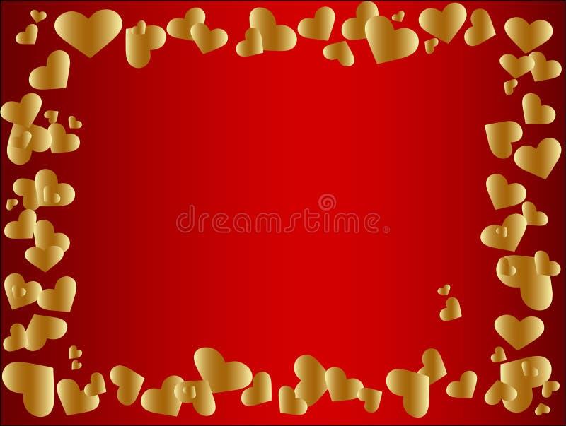 ramowy złoty serce royalty ilustracja