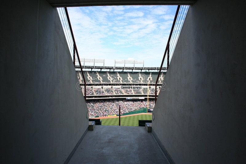 Ramp into baseball stadium stock images