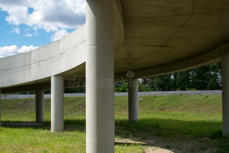 The ramp of the grade-separated road junction. Bottom view stock photography