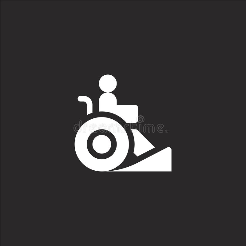 Ramp icon. Filled ramp icon for website design and mobile, app development. ramp icon from filled disabled people assistance. Collection isolated on black stock illustration