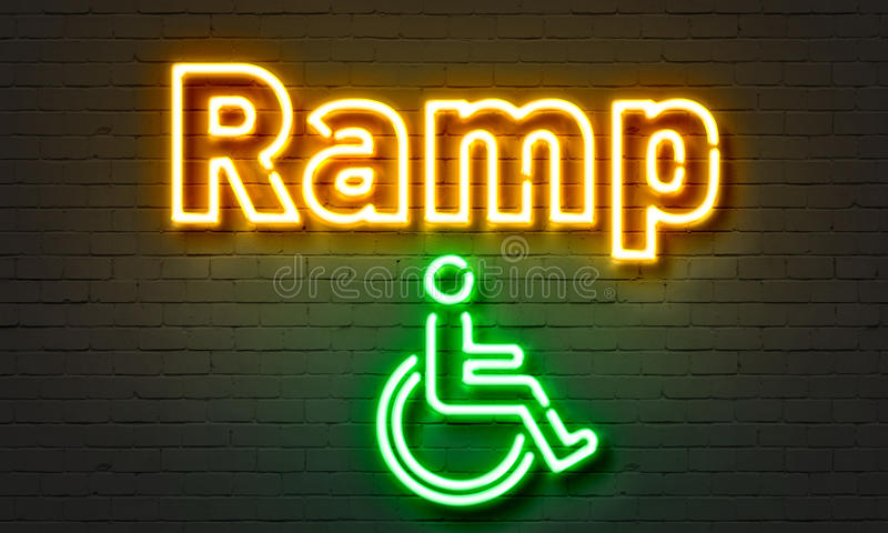 Ramp neon sign on brick wall background. royalty free illustration