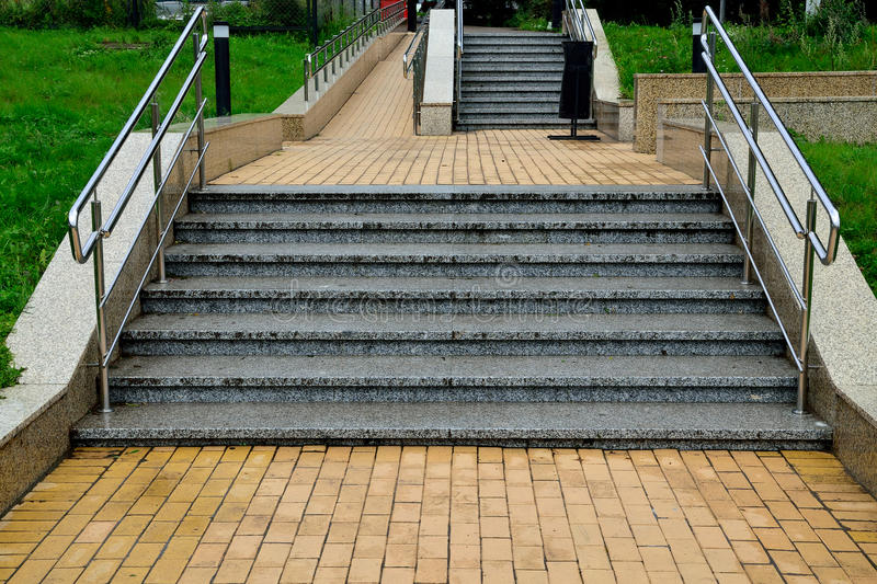 Ramp and stairs stock image