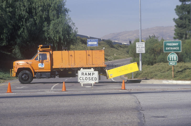 An on-ramp to highway 118. In the Northridge Reseda area of Los Angeles, which was closed following 1994 earthquake stock photography