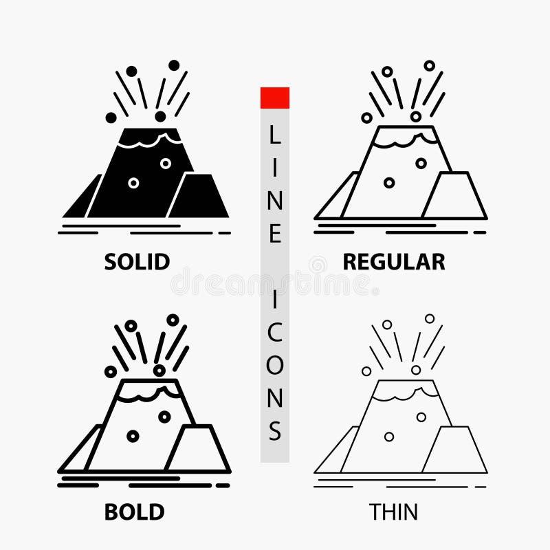 ramp, uitbarsting, vulkaan, alarm, veiligheidspictogram in Dunne, Regelmatige, Gewaagde Lijn en Glyph-Stijl Vector illustratie stock illustratie
