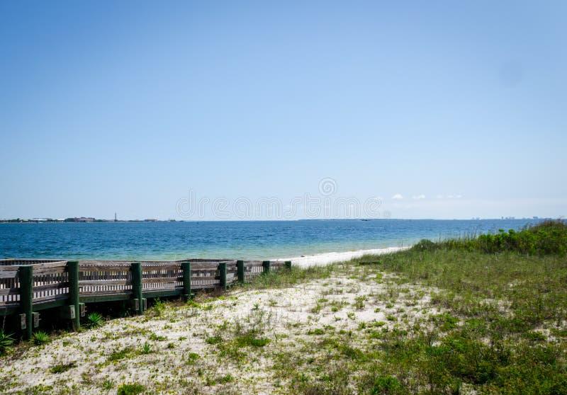 Ramp walkway leading to inter-coastal bay royalty free stock photography