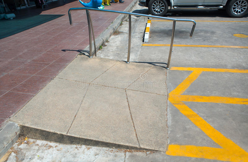 Ramp way for support wheelchair disabled people. Barrier-free access.Selective focus royalty free stock photography