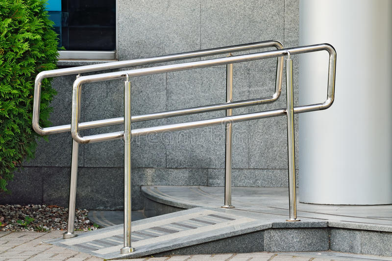Ramp for wheelchair entrance royalty free stock photography