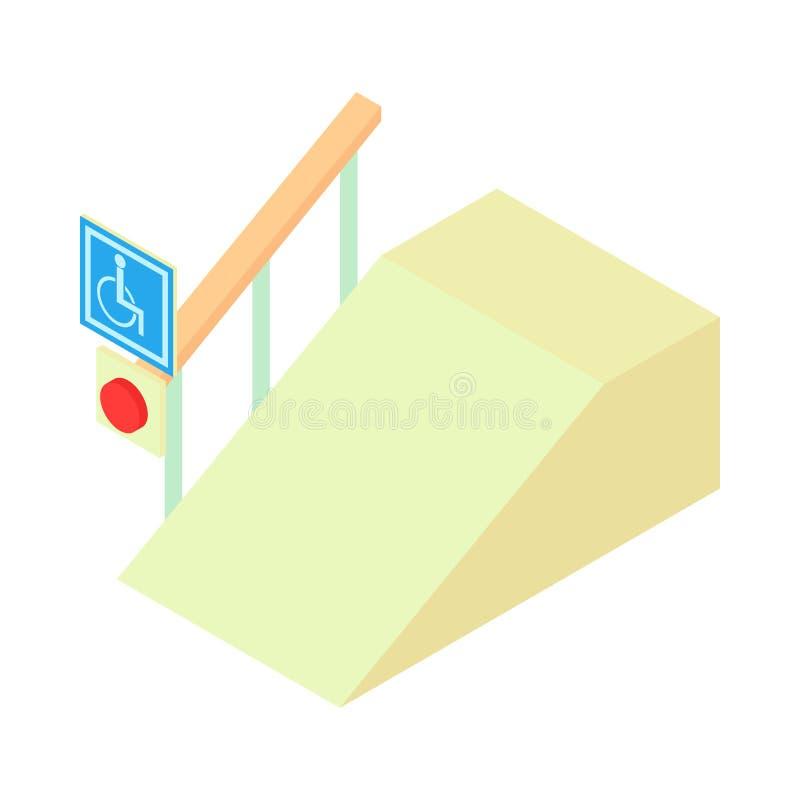 Rampa dla niepełnosprawnego z informacja znaka ikoną ilustracji