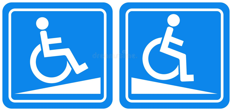 Rampa para o sinal deficiente do símbolo, ilustração do vetor, isolado na etiqueta branca do fundo EPS10 ilustração stock