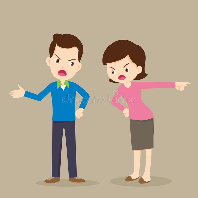 Rampage mom and dad.Angry woman and man quarreling. stock illustration