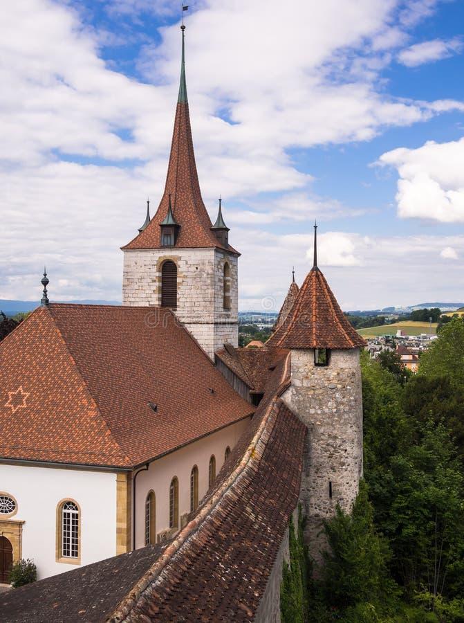 Ramparts ściany w Murten, Szwajcaria. zdjęcia royalty free