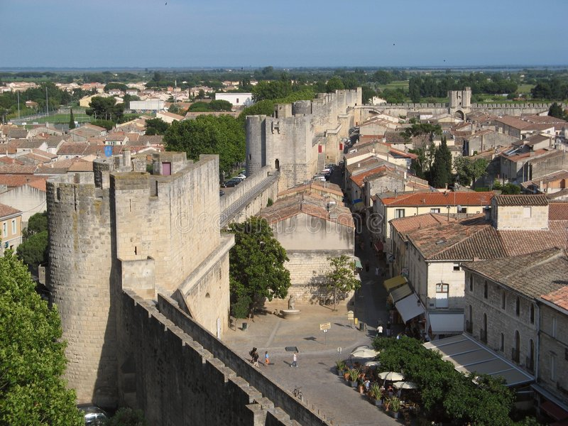 Ramparts of Aigues-Mortes. Ramparts of the provence city of Aigues-Mortes in Camargue stock photography